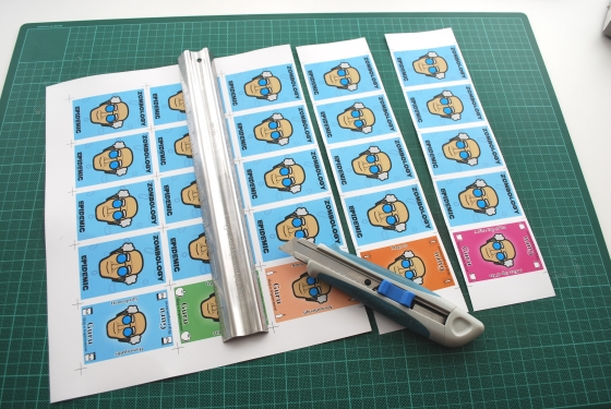 Cutting the cards into strips